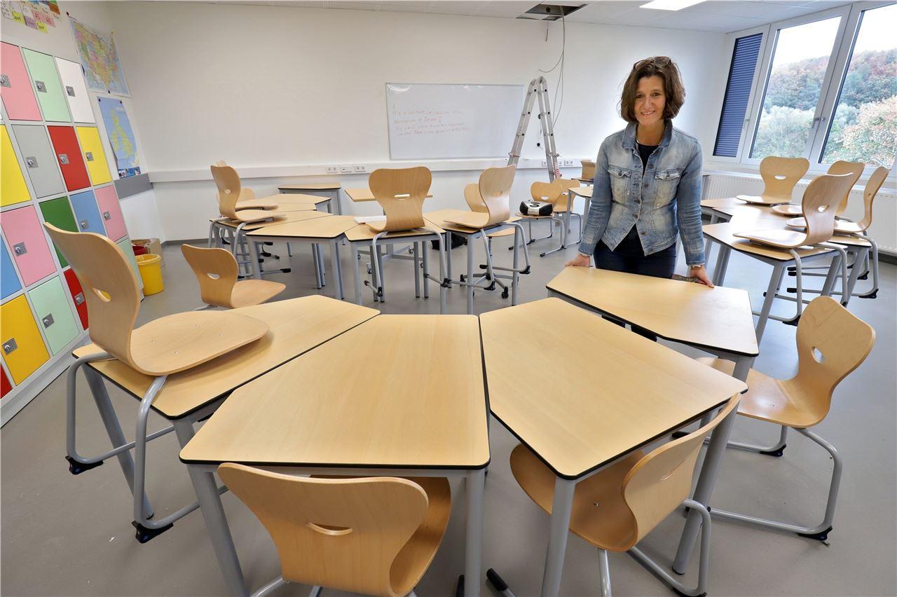 Letzter Feinschliff: Arbeiten am ersten Jahrgangstrakt der Gesamtschule fast beendet
